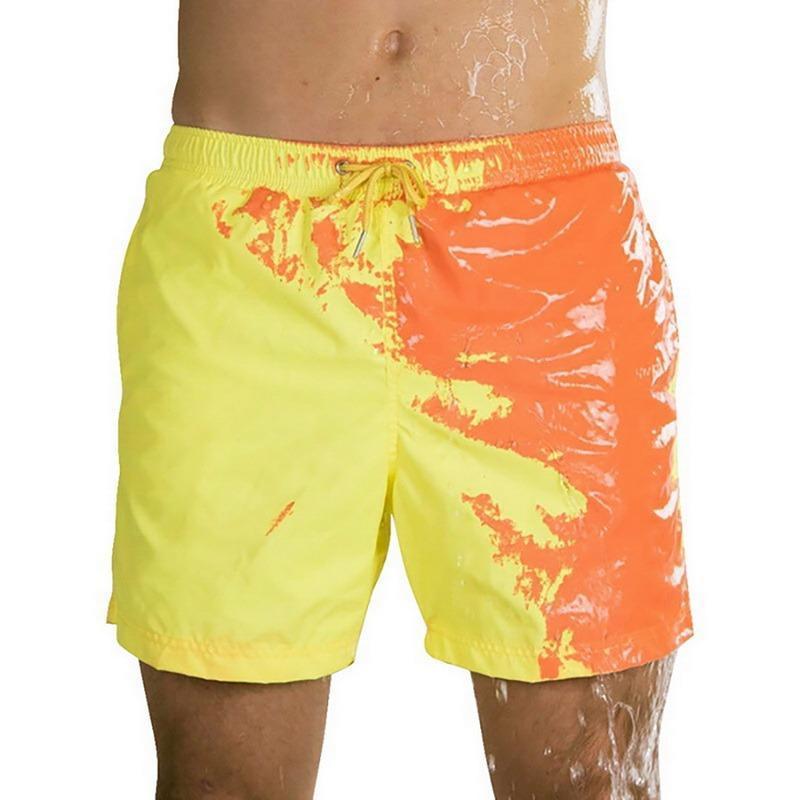 Shorts masculinos pai-criança desgaste a cor mudando calças de natação homens praia troncos secos de banho secoBeachsummer2021