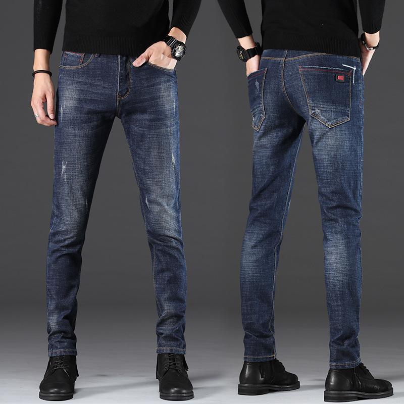 Jeans Autunno e inverno Peluche Ispessimento Slim Syl Stretch Stretch Coreano Casual Pantaloni casual da uomo