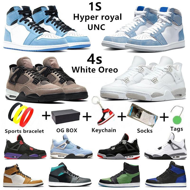 حذاء كرة السلة Air Jordan Retro 1 University Blue Jumpman 1s White Oreo 4s رجالي لكرة السلة Hyper Royal 1 Dark Mocha 4 Travis scott Taupe Haze حذاء رياضي نسائي للرجال والنساء