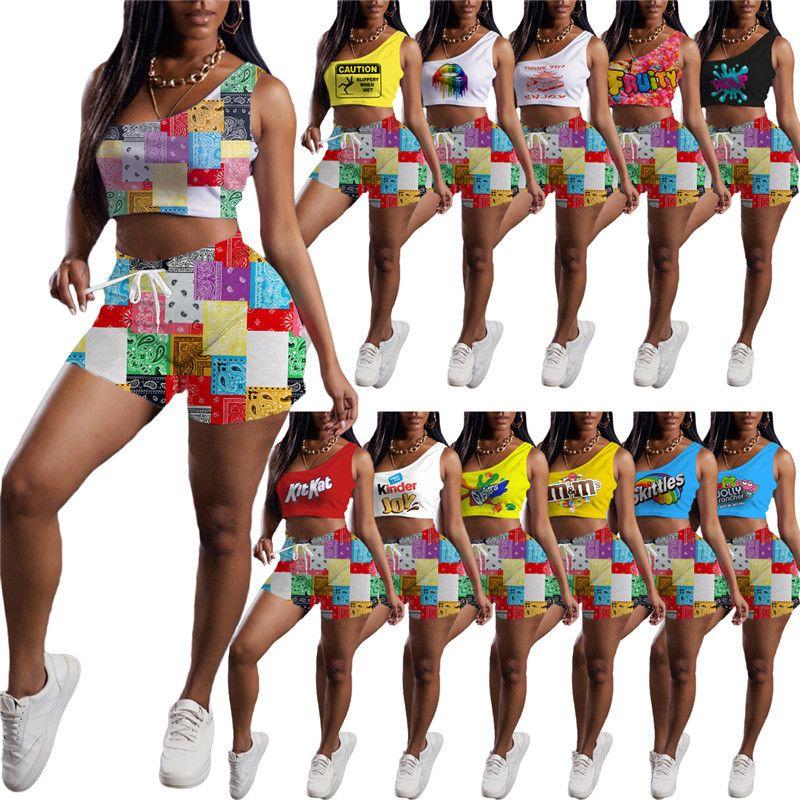 Wholesale летние женские трексуиты наряды без рукавов танк топ + шорты двух частей набор бега runging snatheritut brap жилет + короткая столовая толстая густовка 1024