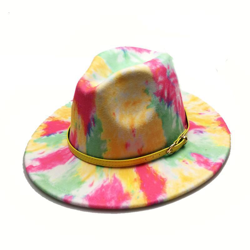 Women Yellow Belt Panama Felt Fedoras Hat Printed Wide Brim New Style Church Derby Top Hat Men wool British style Jazz Cap