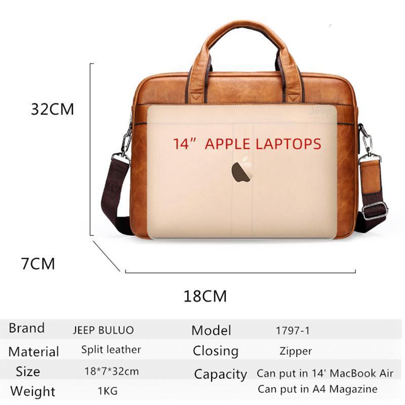 Evrak Çantaları Bulio Yüksek Kaliteli Seyahat Çanta Adam Erkekler Iş Evrak Çantası Çantası Bölünmüş Deri 14 inç Laptop Çantaları Gelenler1 LHKL