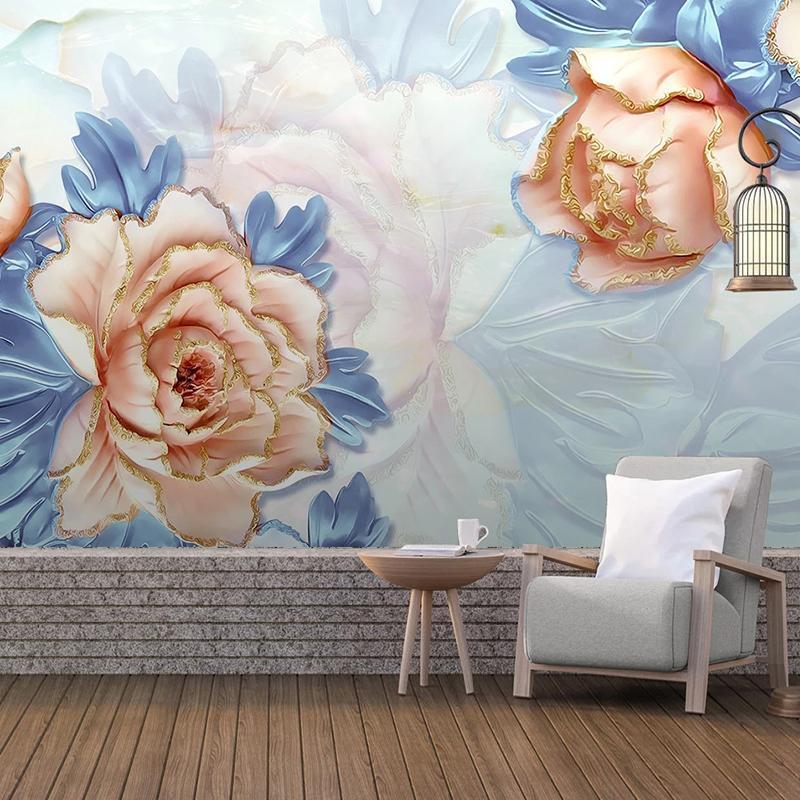 Duvar kağıtları özel duvar kağıdı duvar boyama 3d kabartmalı çiçek büyük duvar modern iç yatak odası oturma odası dekorasyon papel de parede
