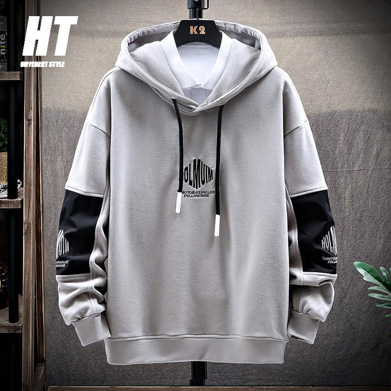 Lettre imprimer hommes sweats à hip hip hop sweatshirts mode polaire pull pull épais piste de piste à manches longues chaudes patchwork hoody mâle hommes