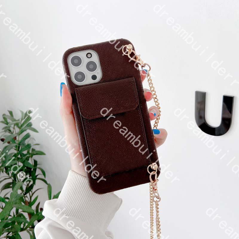 Top Moda Capas telefônicas para 12 Pro Max 12Mini Mini 11Pro 11ProMax 7 8 Plus x XS XR XSmax PU Couro de couro designer shell protetora com carteira de cadeia