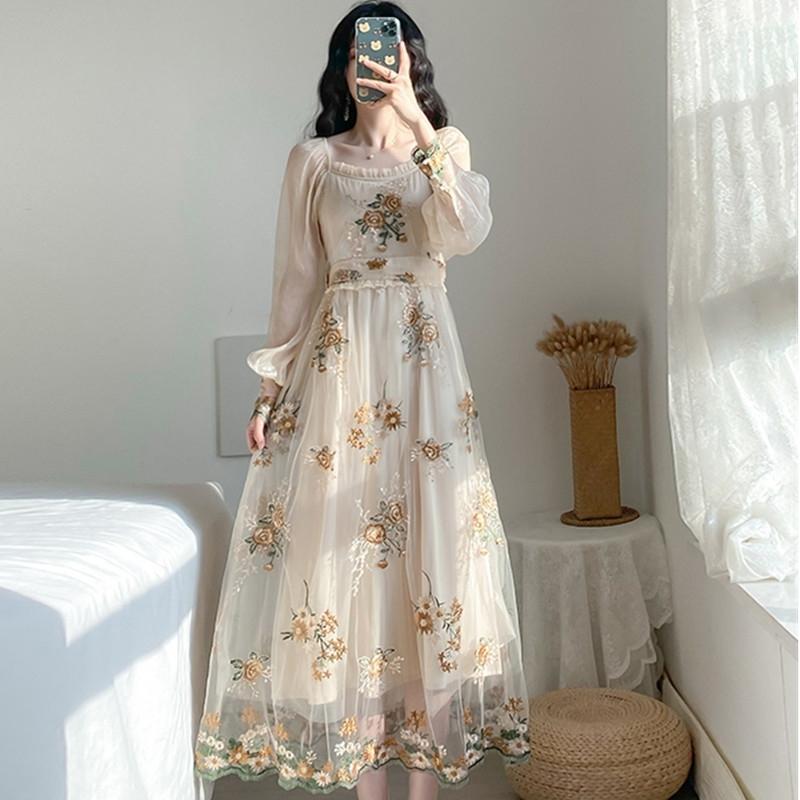 Vestidos de fiesta de bordado Vestidos Pista Floral Flor Bohemia Bordado Mujer Vintage Boho Malla para Vestido 210520