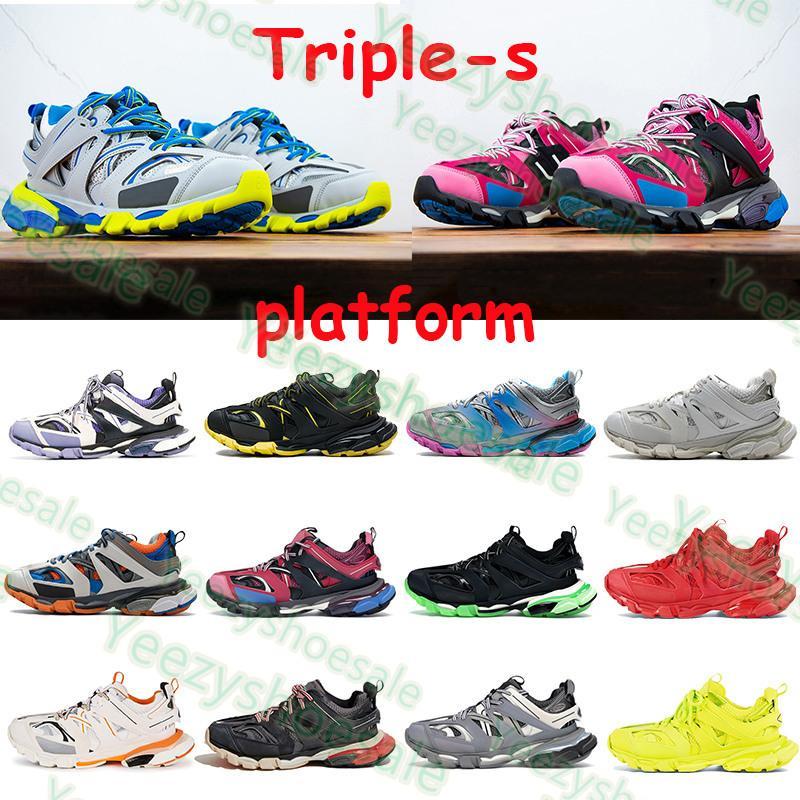 Triple S Hommes Plateforme Casual Shoes 3,0 Sneakers Sneakers Runner Bleu Rose Noir Entraîneur rouge Lime Bourgogne Hommes Femmes Femmes Traperateurs Vintage