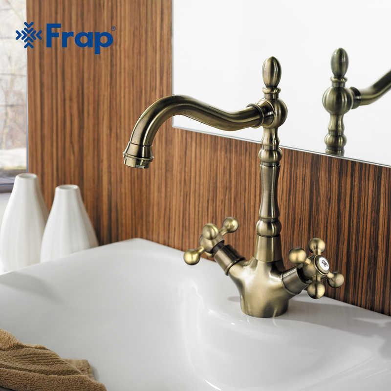 Frap Retro estilo duplo lidar com torneira de cozinha torneira antique bronze e água fria torneira de água 360 graus girating f4019-4 210724