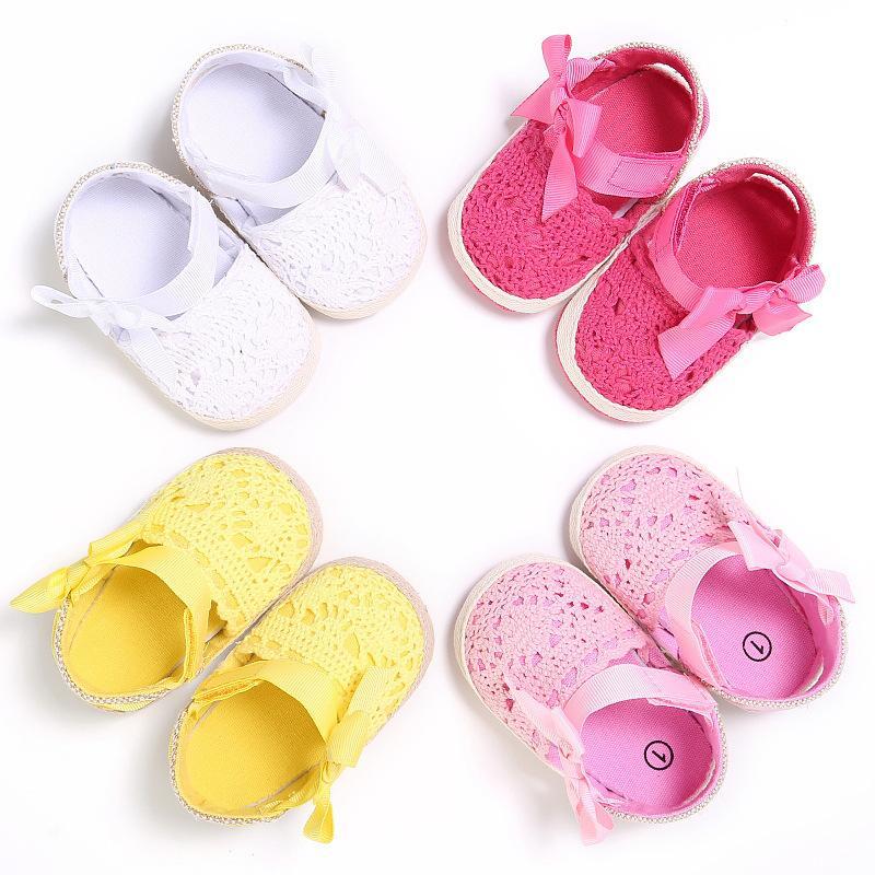 Wonbo baby girl shoes neonato primavera estate dolce molto leggero mary jane grande bow a maglia balletto ballerina vestito vestito pannocchia culla scarpa 2258 v2