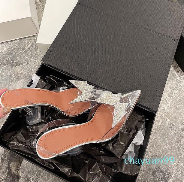 2021 봄과 여름 크리스탈 나비 PVC 하이힐 신발 수입 재료 정품 가죽 발바닥 7-9cm 크기 34-40 여성