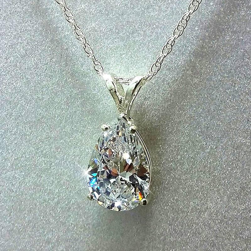Кулон ожерелья капля воды Cubic Zirconia Crystal женское ожерелье простые и элегантные женские аксессуары подарок свадебные украшения 2021 модный