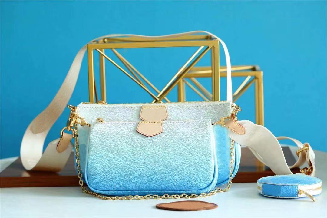 Tasarımcı Hakiki Deri Çok Pochette Accessoires Omuz Çantaları Kılıfı ile 3 adet Crossbody Çanta Yuvarlak Sikke Çanta Pastel Renkli Çok Yönlü Kadın Çanta Tote 57634