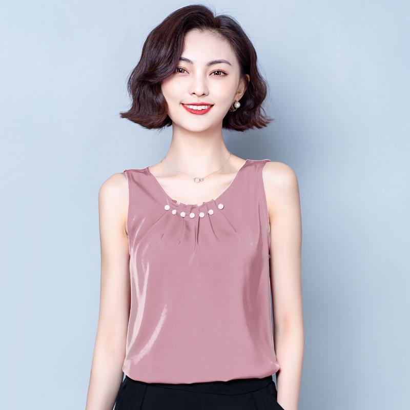 Oversize 4xl Beaded Chiffon Women Blouse 2021 Summer Sleeveless Solid Slim Elegant Lady Pulls Tops Women's Blouses & Shirts