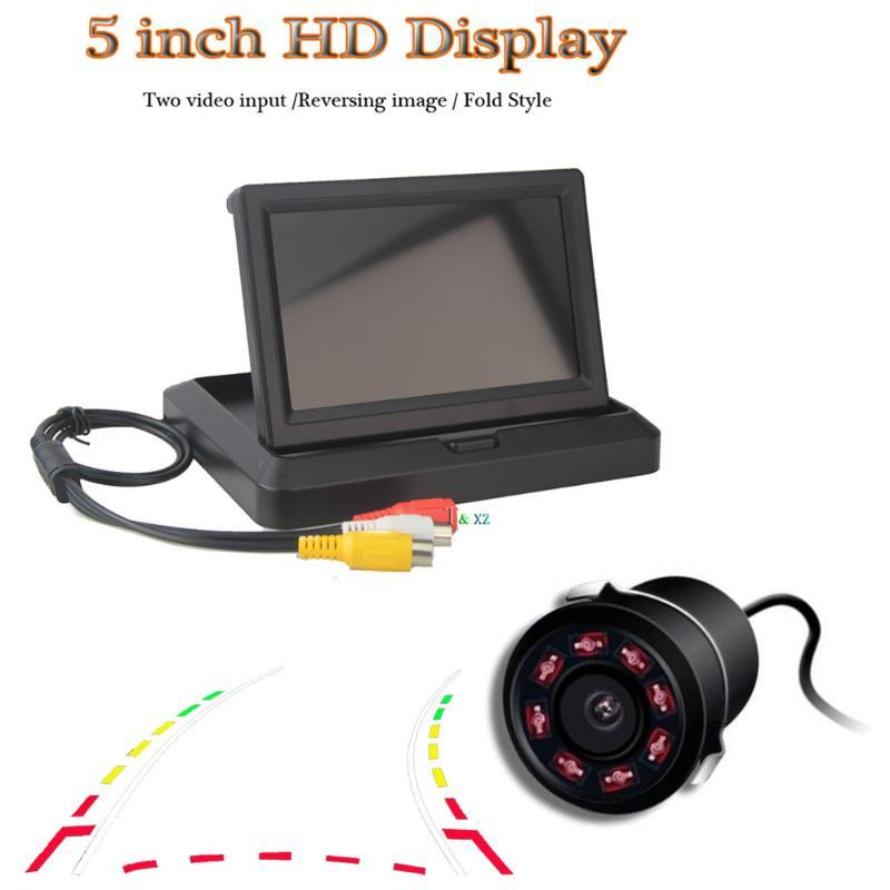Car Video 5 Inch Foldable Monitor TFT LCD Display Dynamic Trajectory With 8 Infrared Reverse Camera Parking Assistance