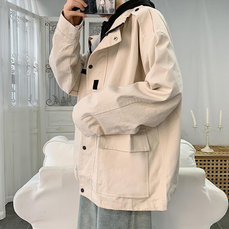 Perth Herrenjacke Mantel 2021 Frühling neues loses Werkzeug Große koreanische Mode-Top