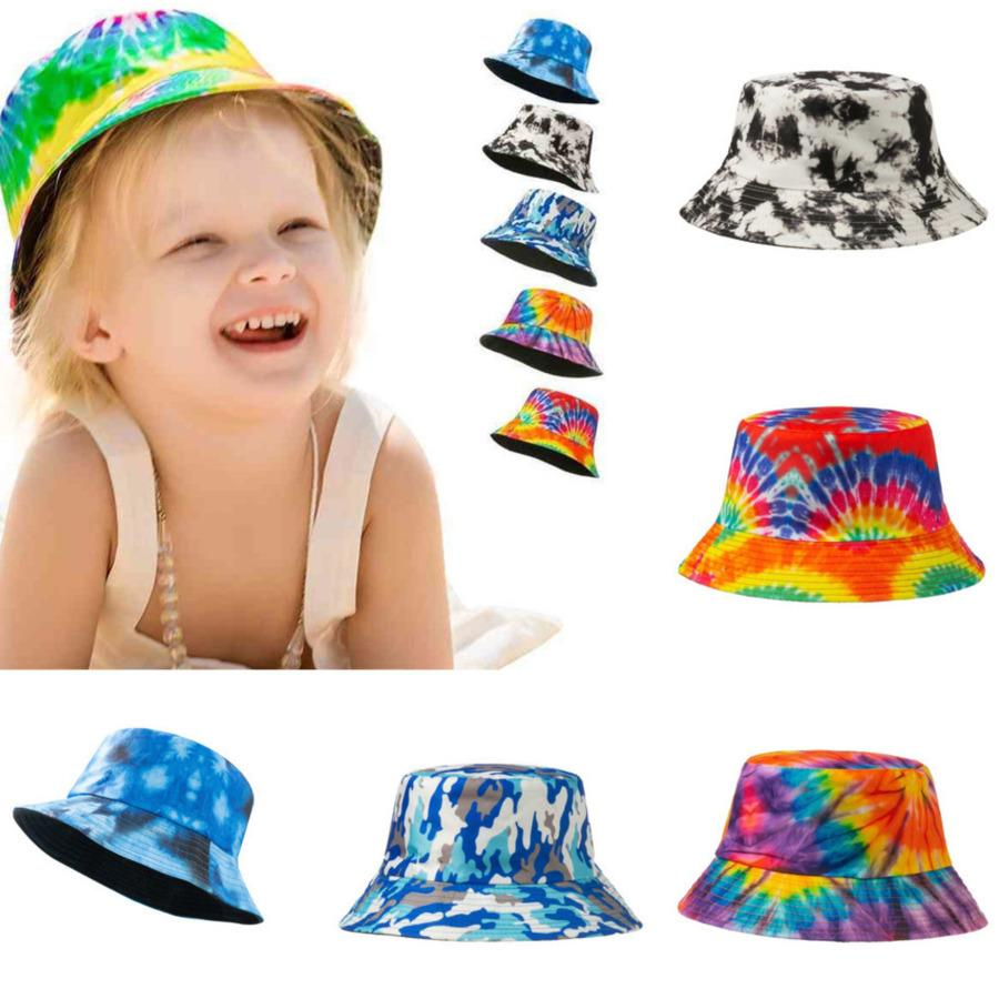 Enfants Summer Designs Chapeau Cravate Teinture Seau Fisherman Chapeaux Garçons Filles Rainbow Couleur Snapback Ball Caps Beach Sports Visière pour VTT en plein air G36KDIN