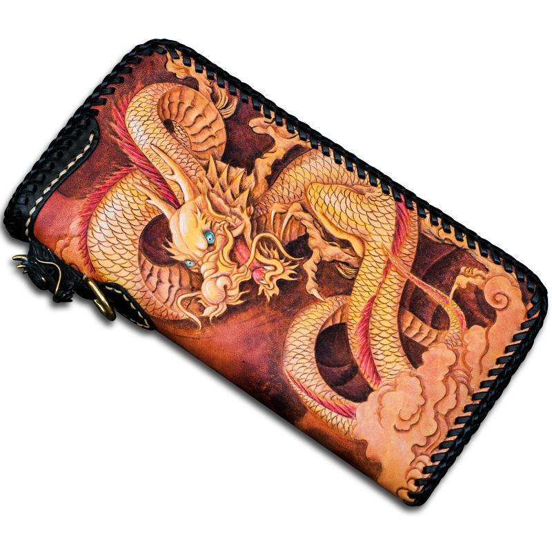 Carteras Talla hecha a mano de alto grado Chino Dragon Zipper Monederos Menores Hombres Largo Embrague Vegetal Bronceado Tarjeta de cuero Titular de la tarjeta