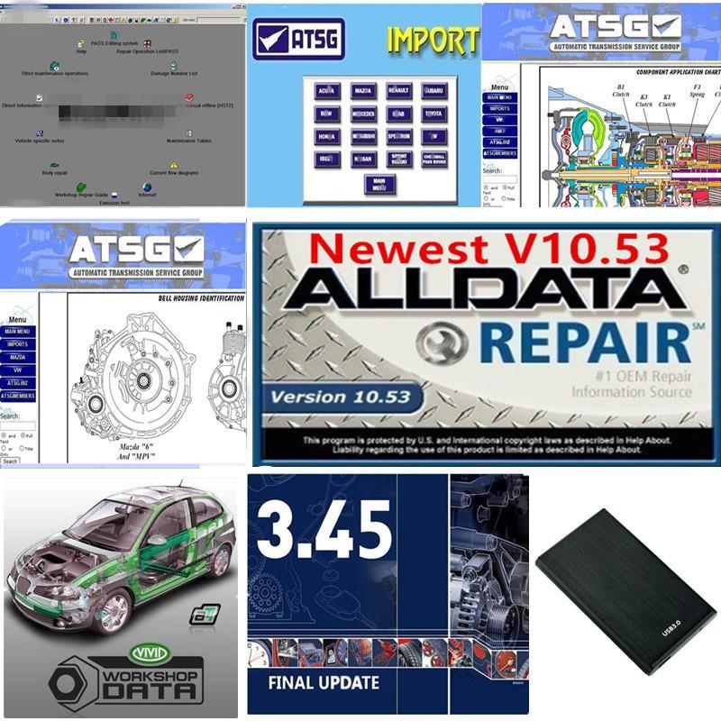 2021 Hot AllData Soft-Ware V10.53 m..ch .. em de .... D 5 Soft-Ware 2015 ATSG Workshop Vivid em 1TB HDD