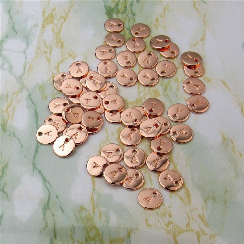 10mm 26 İlk Mektup Kolye Charms Gümüş Altın Bileklik Için Gül Altın Bilezik Kolye A-Z Alfabe DIY LZ1014