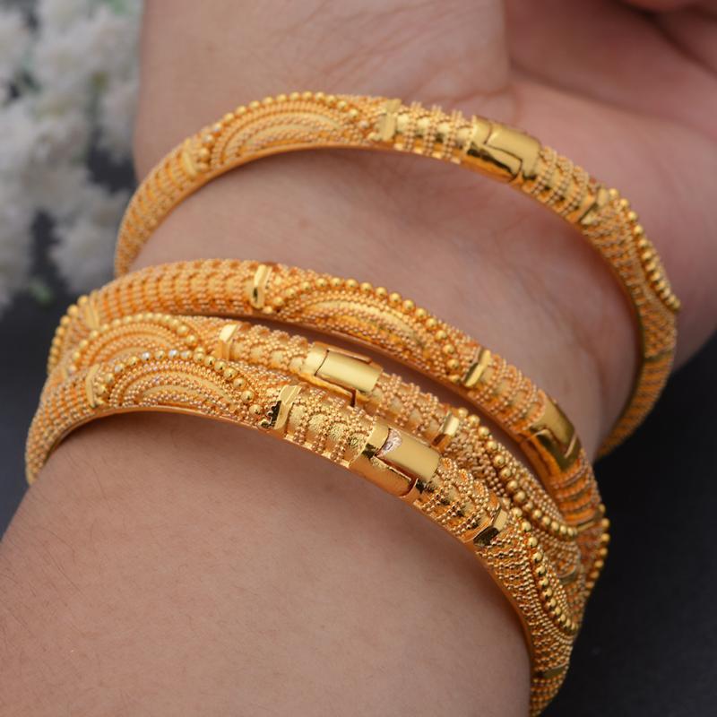 الإسورة 4 قطعة / المجموعة 24 كيلو دبي ذهبي اللون الأفريقي الزفاف أساور الزفاف للنساء سعودي سوار سوار مجوهرات