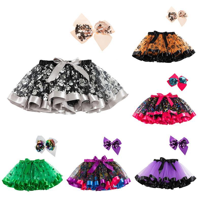Moda colorido curto mini saias para criança crianças aniversário natal halloween festa dança vestido tutu saias com grande arco