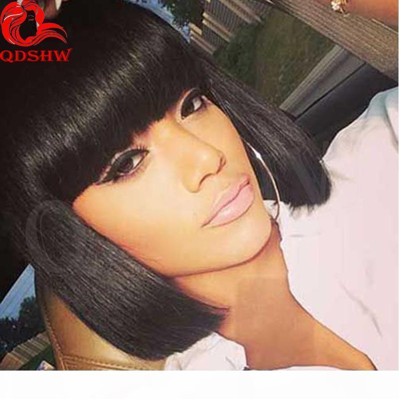 Pelucas de cabello humano cortas con flequillo sin glotura Lamera de encaje con peluca Virgen Peluquería peruana Bob pelucas de encaje completo para mujeres negras
