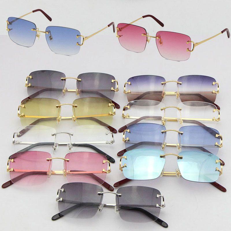 Toptan Satmak Çerçevesiz T8200816 Narin Unisex Moda Güneş Gözlüğü Metal Sürüş Gözlük C Dekorasyon Yüksek Kalite Tasarımcı UV400 Lens Gözlükler