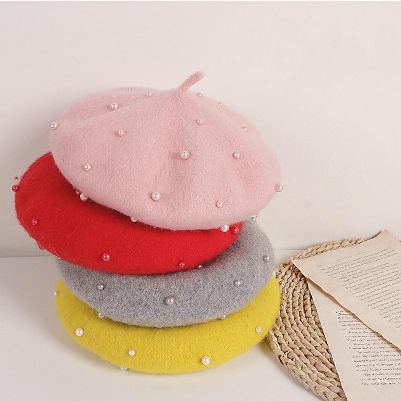 الكورية أزياء الطفل قبعة الأميرة جميلة اللؤلؤ الفتيات قبعات الاطفال القبعات بيني القبعات ربيع الخريف الشتاء الرسام