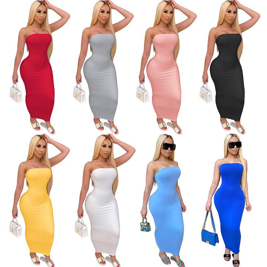 Summer Women Long Maxi Dress Off Shoulder Bandeau Casual Dress Tight High Stretch Dress Sexy Club Bodycon Pencil Skirt