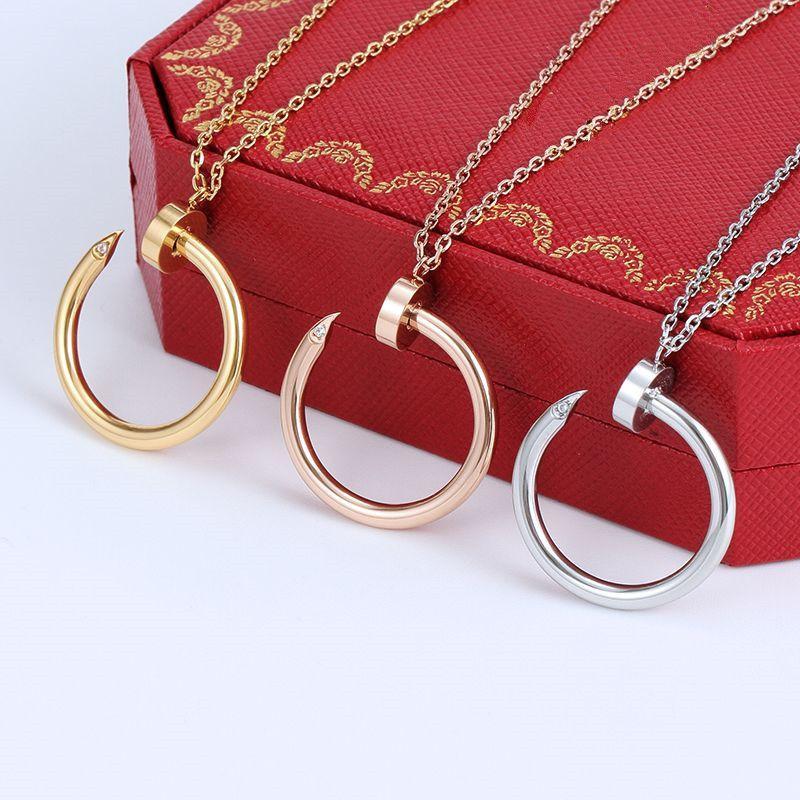 2021 Titanium Stahl Silber Vollzircon Nagelform Anhänger Halskette Schraube Muster Frauen Rose Gold Paar Schmuck Hochzeit Liebe Geschenk