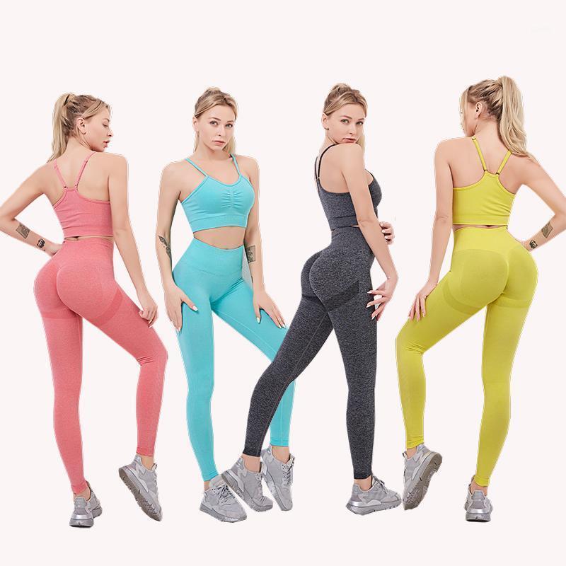Bem Yoga Set Sports Sutiã e Leggings Jogging Mulheres Ginásio Conjunto de Roupas Seamless Workout Esportes Femininos Fitness Suit1