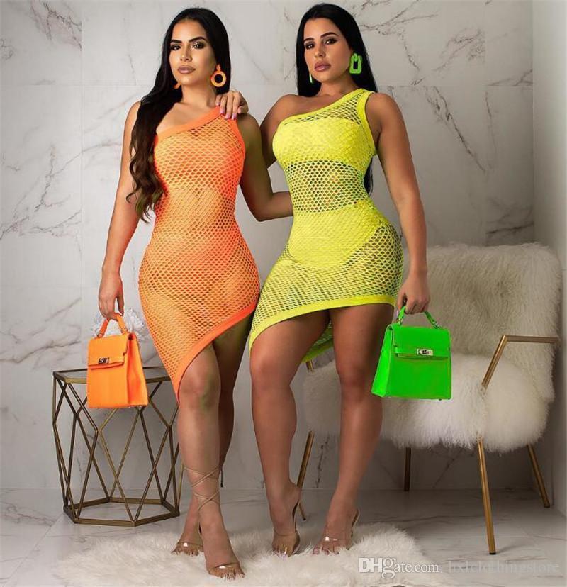 2020 heiße neue frauen casual kleider strand kleid sonntgut sexy frau schwimmenbekleidung up 3 bilder / set net bikinis kleid
