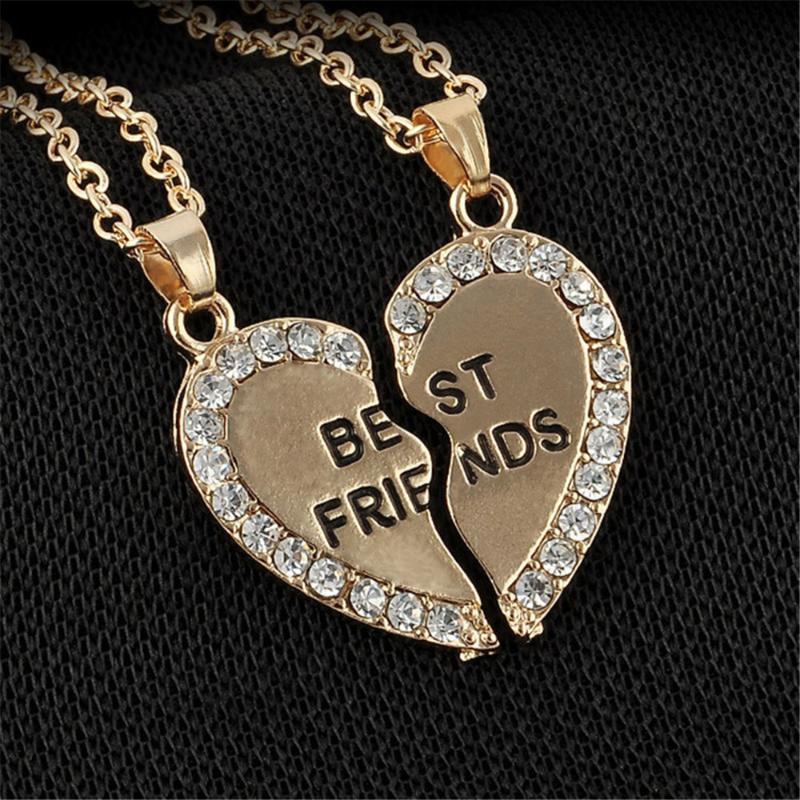 1 pair حجر الراين نصف الحب القلب قلادة الأصدقاء قلادة الصداقة هدية الرسالة الأولية للنساء الرجال collares القلائد