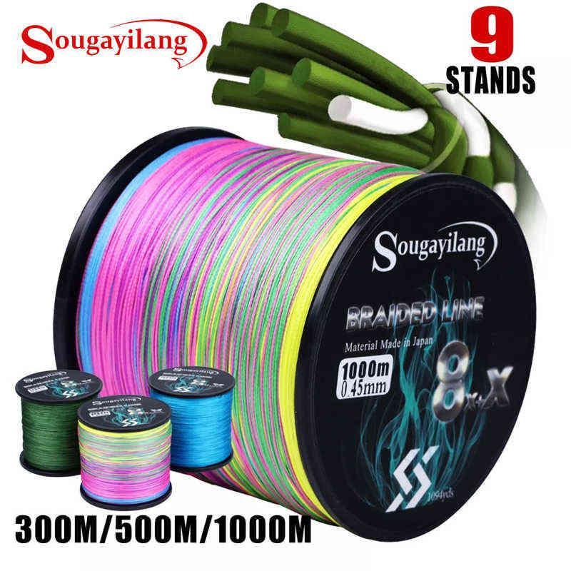Sougayilang 300 متر 500 متر 1000 متر 6 ألوان قوية pe خط الصيد 8 + x strands مضفر متعدد المتانة 210609