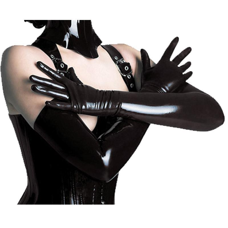 Five Fingers Gloves Women Black Leather Long Fashion Stage Performace Muti-color PU Sleeve Elbow & Mittens