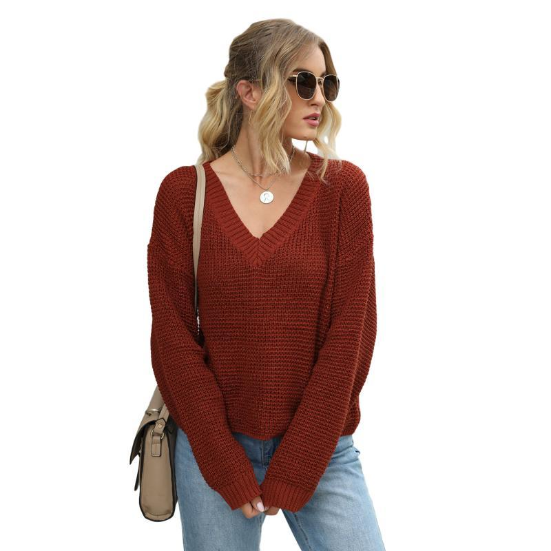 Женская мода с длинным рукавом V-образным вырезом Топ с твердым цветным вязальщиком для женских женских свитеров