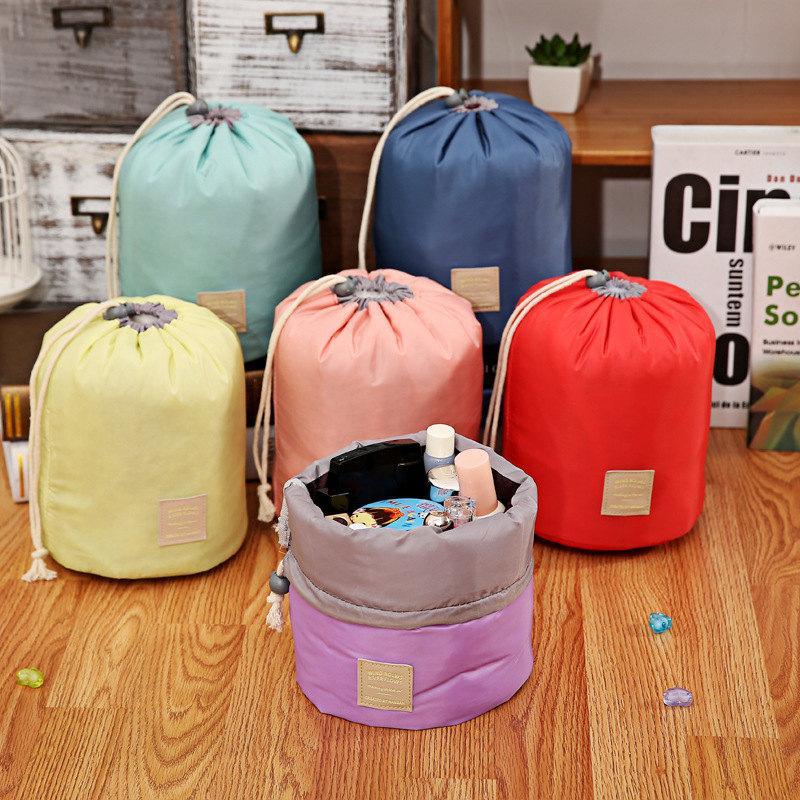 Корейский стиль сумки бочонок в форме косметические сумки для косметики элегантный нейлоновый барабан моется сумка большая емкость составляют организатор женщины хранения мешочек