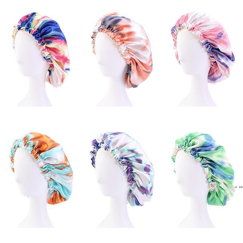 Satin Bonnet tie-dye shower cap Adjustable Double Layer Sleep Caps Woman Parents Tie dyed Turban Hair Cover Night Hat EWB7107