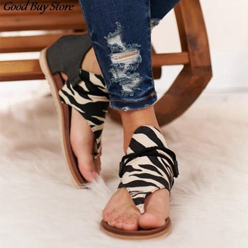 Leopard perizoma sandali donne estate scarpe da spiaggia vintage flip flops sandalo moda gladiatore sandalias roma casual signora