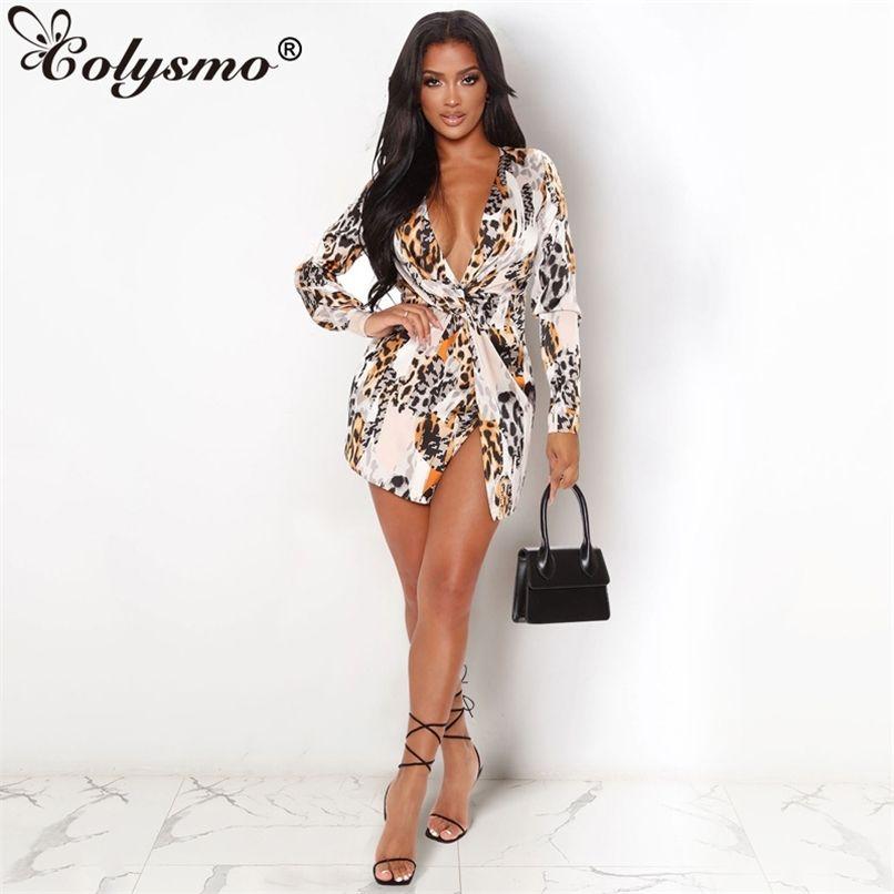 Impressão camisa vestido leopardo v neck manga comprida alta cintura casual mulher sexy vestido verão vestidos streetwear 210521