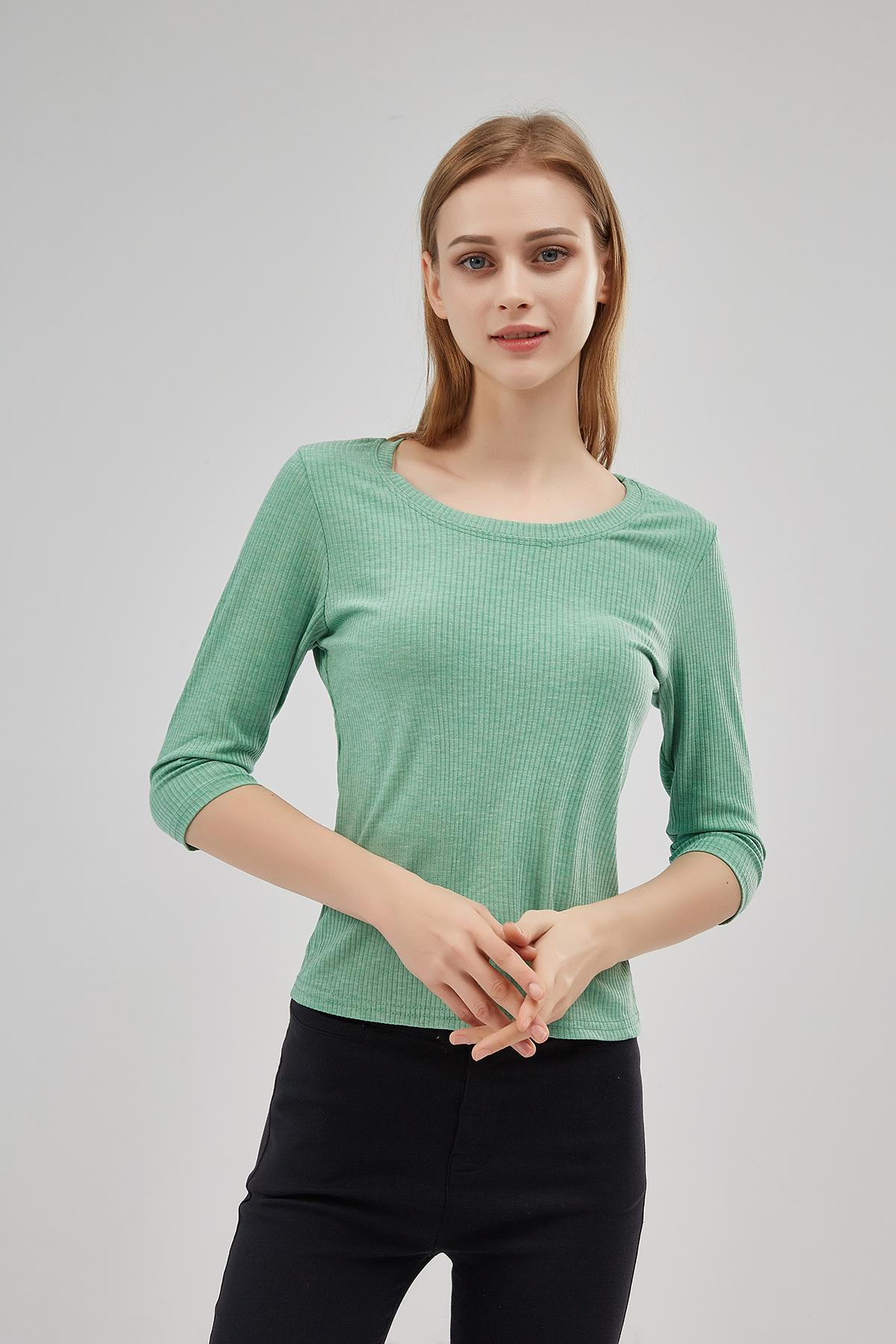 2021 New Women's T-shirt Round Neck Spring and Summer High Elasticity Casual Simple Wild Sleeves Bottoming