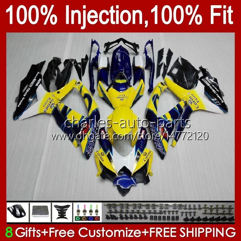 Moule d'injection pour Suzuki GSXR600 K8 GSX-R750 GSXR-600 GSXR-750 GSXR750 Bodywork 9HC.15 Jaune Blue GSX-R600 2008 2009 2010 GSXR 600 750 CC 600CC 750CC 08 09 10 Catériel