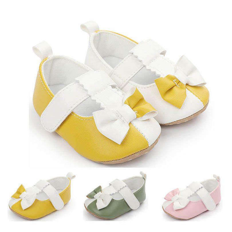 الفتيات أول مشوا الطفل أحذية طفل ربيع الخريف جلد bowknot الأميرة الأخفاف لينة الرضع ارتداء B4671
