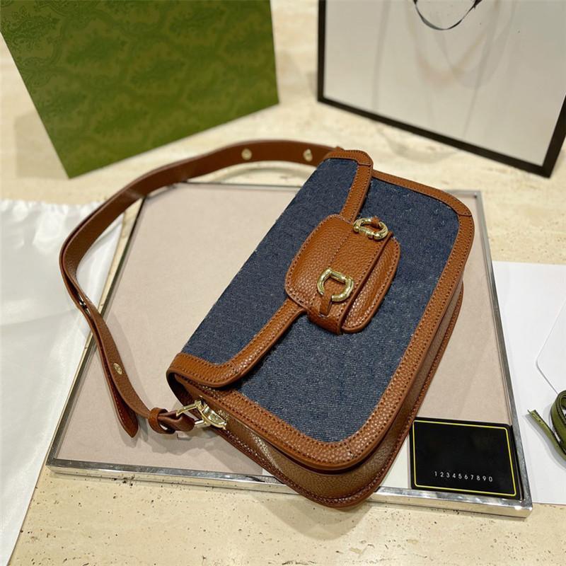 Frauen Designer Taschen 2021 Buchstaben Druck Handtaschen Casual Style Retro Satteltaschen Damen Helle Linie Crossbody Bags mit Box