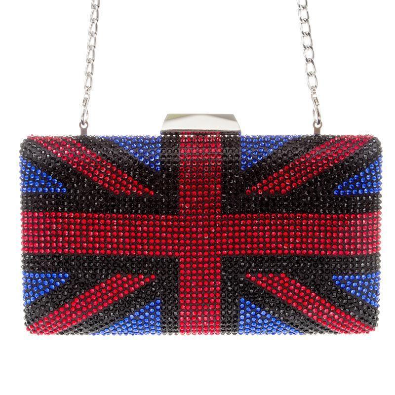 Chegada nova preta / vermelha / azul diamante rhivesestone bolsas mulheres sacos de designer senhoras cadeia longa crossbody bolsa festa festa bolsa