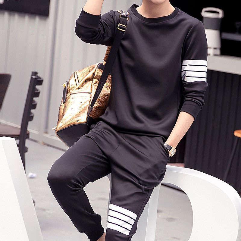 Erkek Eşofman Kazak Kore Moda Yuvarlak Yaka Kazak Spor Takım Elbise