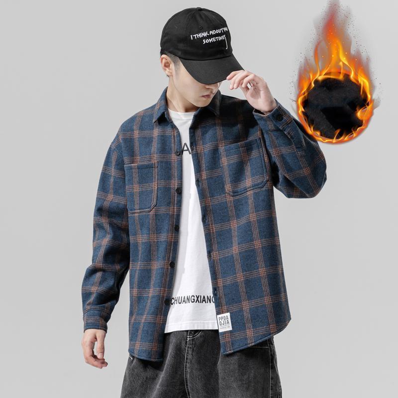Shinichi 캐주얼 격자 무늬 벨벳 두꺼운 따뜻한 턴 다운 칼라 셔츠 남성용 코튼 폴리 에스터 느슨한 긴 소매 셔츠 M-5XL