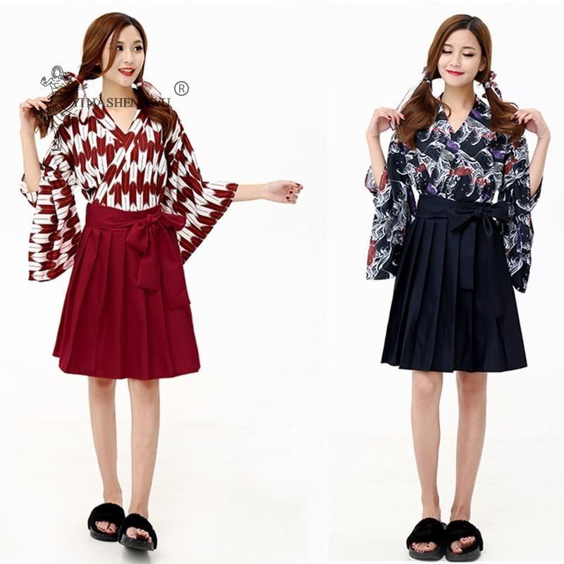 Falda japonesa Kimono Traje Mujer Vestido Asiático Ropa Femal Ropa Dama Kids Yukata Haori Tops Imprimir Ropa Kawaii Chicas Robe Conjuntos Étnicos