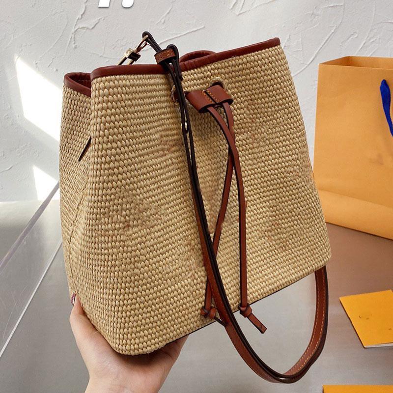 Sac de godets tissé Sacs de paille sacs à main sac à main Mode Fashion Lettre Lettre d'impression String intérieur Zipe à glissière ajustable Strap à épaules ajustables