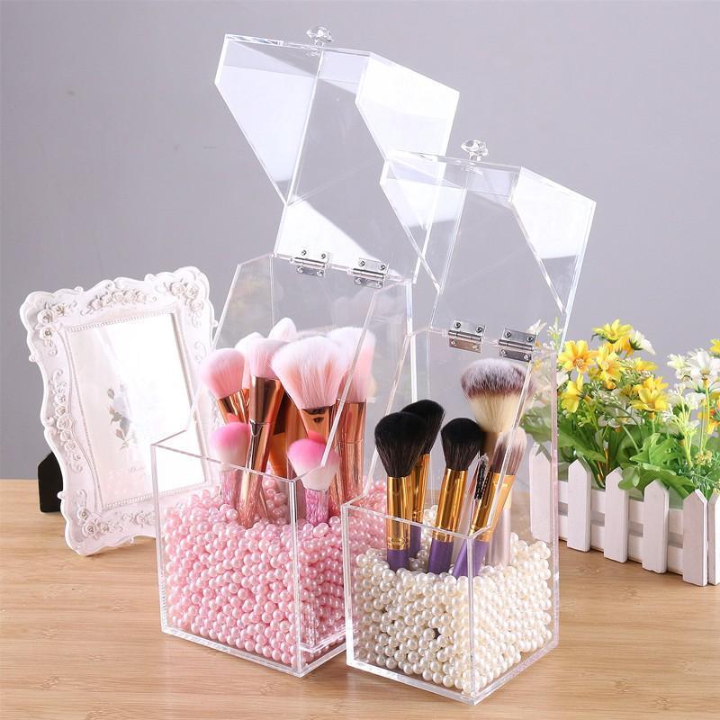 Cajas de almacenamiento contenedores maquillaje herramienta cepillo barril cáscara caja acrílico transparente plástico polvo a prueba de polvo baño tocador cosmético organizar